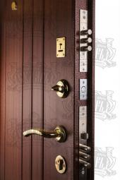Двери МД-04 медный антик/орех тиснёный