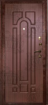 Двери МД-04 медный антик/орех тиснёный вид сзади